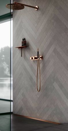This calming Grey tone tiles has timeless appeal and looks great with rose gold shower taps. Gold Shower, Shower Taps, Shower Fixtures, Shower Bathroom, Bathroom Mirrors, Master Bathroom, Budget Bathroom, Simple Bathroom, Bathroom Renovations