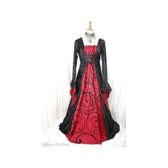 Gothic Medieval dress with blood red taffeta All Dresses (270 BAM) ❤ liked on Polyvore featuring dresses, costumes, goth and medieval