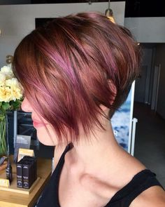 Red Pixie Cut with Purple Highlights