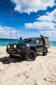Modified Mitsubishi Triton on the beach. Hilux Mods, Triton 4x4, 4x4 Off Road, Off Road Cars, Mitsubishi Pajero Sport, Expedition Vehicle, Toyota Hilux, 4x4 Trucks, Australia Travel