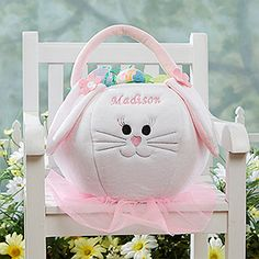 This Personalized Easter Bunny Basket for girls is adorable! This site has all sorts of Easter baskets!