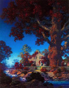 "Maxfield Parrish (American, 1870-1966). ""Little Stone House/Morning Light"" 1954."