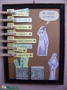 """Mit kérsz aranyom?"" menütervező tábla (Mintamokus) - Meska.hu Creative Storage, Diy Wall Art, Home Kitchens, Ale, Design, Painting, Ideas, Ale Beer, Painting Art"