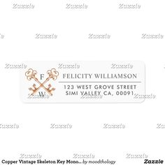Shop Copper Vintage Skeleton Key Monogram Initials Label created by moodthology. Wedding Address Labels, Return Address Labels, Business Letter, Vintage Keys, Monogram Initials, Skeleton, Copper, Letters, Writing