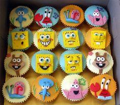 spongebob cupcakes for birthday party Spongebob Face, Spongebob Friends, Spongebob Birthday Party, Fondant Cupcake Toppers, Cupcake Wars, Sponge Bob Cupcakes, Yellow Birthday Parties, Birthday Ideas, Cupcakes Flores