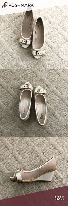 {15 mins} Beige Peep Toe Buckle Wedges Adorable beige peeptoe wedges to spice up your shoe collection! Worn once and in excellent condition. 15 mins Shoes Wedges