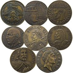 Set of Eight Houses - Half-Dragons - A Game of Thrones, George R. Lady Olenna Tyrell, House Sigil, Coin Design, King In The North, Dire Wolf, Iron Throne, Old Coins, Eight, Dragons