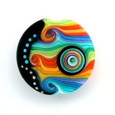 Rainbow Stripes handmade Lampwork glass focal bead by michals