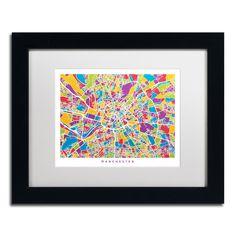 Manchester England Street Map III by Michael Tompsett Framed Graphic Art in White
