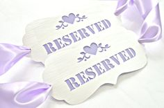 Check out our lilac wedding decor selection for the very best in unique or custom, handmade pieces from our party décor shops. Wedding Chair Signs, Wedding Chairs, Reserved Signs, Lilac Wedding, Goods And Services, Ribbon Colors, Sell On Etsy, Paper Cutting, Card Stock