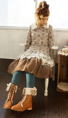 be mori girl Mori Girl Fashion, Cute Fashion, Asian Fashion, Mode Mori, Cosplay, Mode Steampunk, Ethno Style, Girl Outfits, Cute Outfits