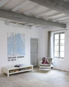 Natural materials, white and light grey colours House, Painted Beams, Interior, Home Staging, Cottage Inspiration, New Homes, Home Decor, Home Deco, White Interior