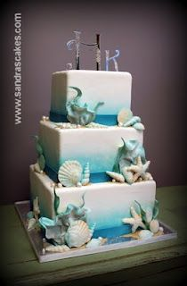 Under the sea wedding cake by felinelady Gorgeous Cakes, Pretty Cakes, Cute Cakes, Beach Themed Cakes, Beach Cakes, Ocean Cakes, Nautical Cake, Cool Wedding Cakes, Unique Cakes