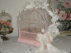 Vintage Bird Cage Rusty Crown Birdcage Chippy by TinkersWarehouse