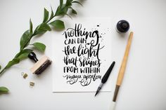"""""""Light from Within"""" 8x10 art print hand lettered by Jenny Highsmith."""