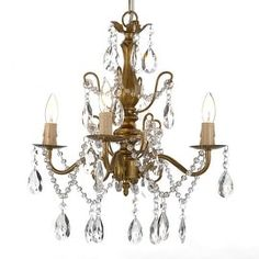 """Wrought Iron and Crystal 4 Light Gold Chandelier H 14"""" X W 15"""" Pendant Fixture Lighting"""