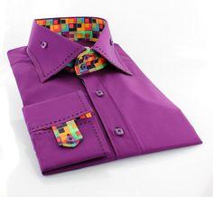 Claudio Lugli men's purple shirt with multi-coloured retro square design http://claudioluglishirts.com/