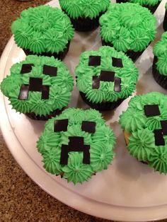Mine Craft Creeper cupcakes