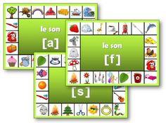 Le jeu des phonèmes : l'enfant doit chercher les images qui contiennent le phonème et y accrocher une pince à linge.
