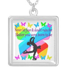 NO FEAR JUST FAITH FIGURE SKATING BUTTERFLY DESIGN SQUBeautiful figure skating designs for your Ice Princess. http://www.zazzle.com/mysportsstar/gifts?cg=196621838645756107&rf=238246180177746410 #figureskating #Figureskater #Figureskatinggifts #BorntoSkate #Loveskating ARE PENDANT NECKLACE