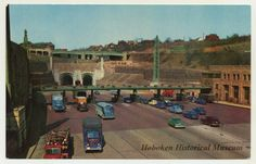 Postcard of the Lincoln Tunnel, NJ toll plaza, Weehawken, ca. 1940s.  (Hoboken Historical Museum)