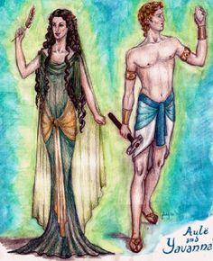Aule and Yavanna  Aulë, el herrero: es el esposo de Yavanna, con quien comparte el elemento de la tierra, pero de manera más profunda. Es el hacedor de las montañas, señor de todas las artesanías, creador de metales y piedras preciosas. Los Enanos lo llaman Mahal, el Hacedor, porque él es quien dio forma a este pueblo a partir de la tierra y de la piedra. Fue Aulë quien forjó las Lámparas de los Valar y los recipientes que contenían la luz del Sol (Anar) y la Luna (Isil).