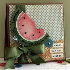 I couldn't find this set, but I could make a watermelon with Stampin' Up! Circle Framelits. inspiration from JennB - Watermelon Sweet Summer Wishes