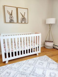 Loving this entire nursery style for a baby girl with a touch of bunny theme! Bunny Nursery, Girl Nursery, Project Nursery, Nursery Ideas, Changing Dresser, Closet Door Handles, Somebunny Loves You, Wooden Cribs, Dresser Drawer Knobs