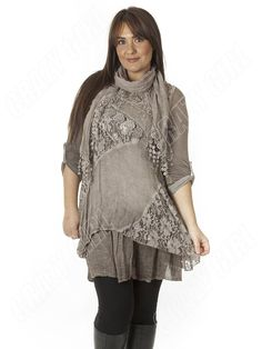 european+lagenlook | Womens-Italian-Lagenlook-Quirky-Front-Lace-Scarf-Tunic-Dress-Size-L-XL ...