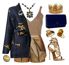"""""""Navy & bronze"""" by ellenfischerbeauty ❤ liked on Polyvore featuring Dsquared2, sass & bide, Odeeh, Chanel, LeVian, Giuseppe Zanotti, Lagos, HowToWear and waystowear"""