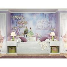 The Princess and The Frog Wall Mural Wall Decal- RoomMates    Such an amazing story. This mural is a great focal point with beautiful colors. Mix in some purple and white throw pillows or area rugs with some white flower wall decals and its a total room makeover!