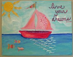 Girl Whimsical Sailboat Painting, Mixed Media, Pink, Glitter, Dreams, Inspirational Original 8x10 Canvas on Etsy, $48.00