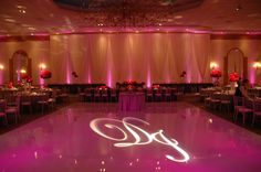 White vinyl dance floor cover with custom gobo (light with custom cutout for display). Lounge Furniture, White Vinyl, Trade Show, Special Events, Neon Signs, Gallery, Modern, Dance Floors, Wedding