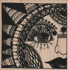 Large wood stamp Steampunk supplies woman sun faceand  whimsical  Rubber Stamp by Mary Vogel Lozinak  tateam EUC team  18366. $16.50, via Etsy.