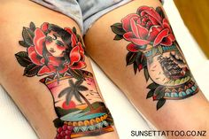 Tom traditional tattoos, colour tattoos, best New Zealand Tattoos by Sunset Tattoo Auckland #sunsettattoo