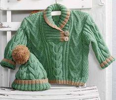 Зеленый джемпер с косами для малыша до трех лет. Описание вязания спицами, схема узора и выкройка. Приятного вязания.