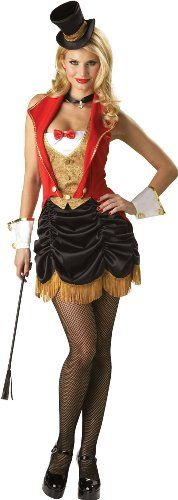 Ringmaster Costume...definitely wear a longer skirt and cover up the top a little more!!! Other than that, it's a great idea!!