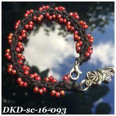 Stack wavelet bracelet, handdyed black silk with rainbow red miyuki beads, crochet bracelet, boho gypsy style DKD-sc-16-093 by DutchKnittingDesign on Etsy