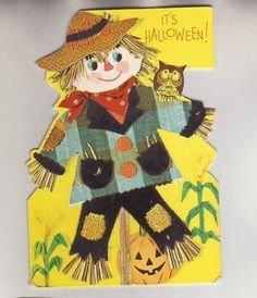 OLD Halloween Card/Holiday Scarecrow Pumpkin Owl/Straw Black Felt Very Cute/LOOK Here is a very cute vintage Halloween Card with jack o lanterns and owl. Black felt on the sca. Halloween Ii, Halloween Cards, Vintage Halloween, Black Felt, Owl, Pumpkin, Christmas Ornaments, Holiday Decor, Paper
