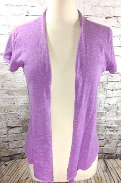 Eileen Fisher Shrug Size Small Linen Blend Marled Purple Open Front Sweater EUC #EileenFisher #Shrug