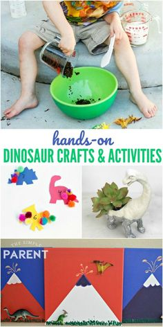 Dinosaur crafts and activities for kids offer a great way to do hands on projects and learn! These ideas are great for toddlers, preschool, kindergarten, and elementary aged kids. They're easy DIY projects especially the DIY fossils! Easy Preschool Crafts, K Crafts, Toddler Crafts, Preschool Kindergarten, Children Crafts, Preschool Ideas, Craft Ideas, Dinosaur Theme Preschool, Dinosaur Crafts