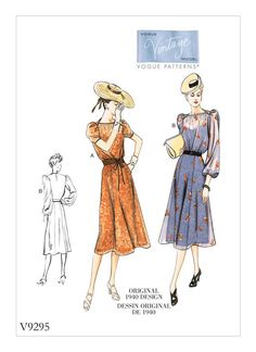 Buy Vogue Women's Dress Sewing Pattern, 9295 from our Sewing Patterns range at John Lewis & Partners. Vogue Vintage, Vintage Vogue Patterns, Vogue Sewing Patterns, Vintage Fashion, 1940's Fashion, Fashion History, Robes Vintage, Vintage Dresses, Patron Butterick