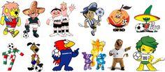 #FalandoNisso  COPA DO MUNDO / MASCOTE    E para refrescar sua memória, segue os outros mascotes das competições anteriores…  Pela ordem: Willie (Inglaterra 66), Juanito (México 70), Tip e Tap (Alemanha 74), Gauchito (Argentina 78), Naranjito (Espanha 82) e Pique (México 86); Ciao (Itália 90), Striker (EUA 94), Footix (França 98), Ato, Kaz e Nik (Coreia do Sul e Japão 2002), Goleo (Alemanha 2006) e Zakumi (África do Sul 2010).