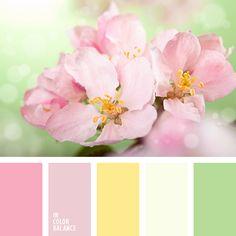 amarillo cálido, amarillo pálido, amarillo pálido y rosado pálido, amarillo pastel, amarillo y rosado, amarillo y verde, color flor de guinda, color flor de sakura, color rosa pastel, matices cálidos del rosado, rosado, rosado y verde, verde pastel, verde y rosado.