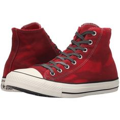 Converse Chuck Taylor All Star Hi (Casino/Black/Egret) Lace up casual... ($56) ❤ liked on Polyvore featuring shoes, sneakers, converse, red, converse shoes, lacing sneakers, lace up shoes, red trainers and black trainers