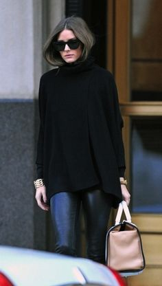 baggy black sweater + leather pants.