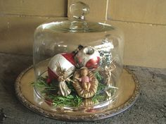 Vintage Glass Dome Cloche Round Silver by VintageAccentsStudio