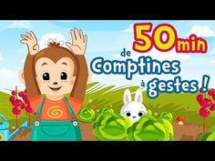 50 min de comptines à gestes et chansons pour bébés [Petit escargot, Alouette Gentille Alouette...] - YouTube