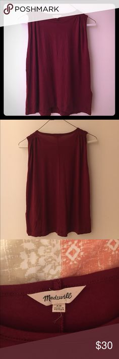 Madewell sleeveless tee in Garnet Great condition Madewell tee-XS. Only worn a handful of times. Madewell Tops Crop Tops