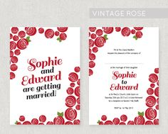 A Mackintosh rose inspired design with a vintage feel, printed onto lovely 320gsm textured card, double sided. The design can be adapted to a colour of your choice for free! From £2.20 per invite. www.fairyfrog.co.uk